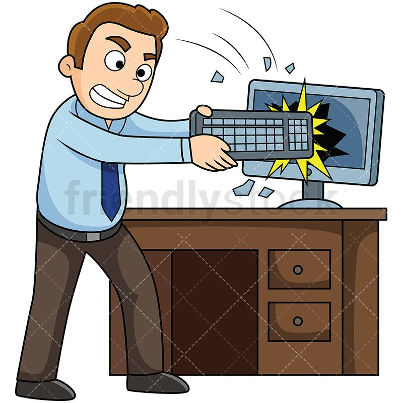 Angry Man At Work Smashing Computer Screen With Keyboard in.