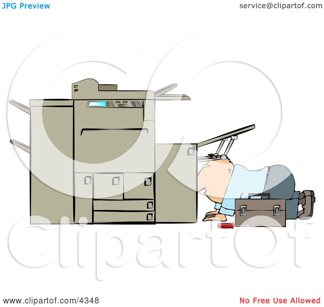 Repairman Trying To Fix a Broken Copy Machine Clipart by djart #4348.