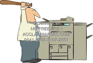 Clipart Illustration: Man Beating A Copy Machine.