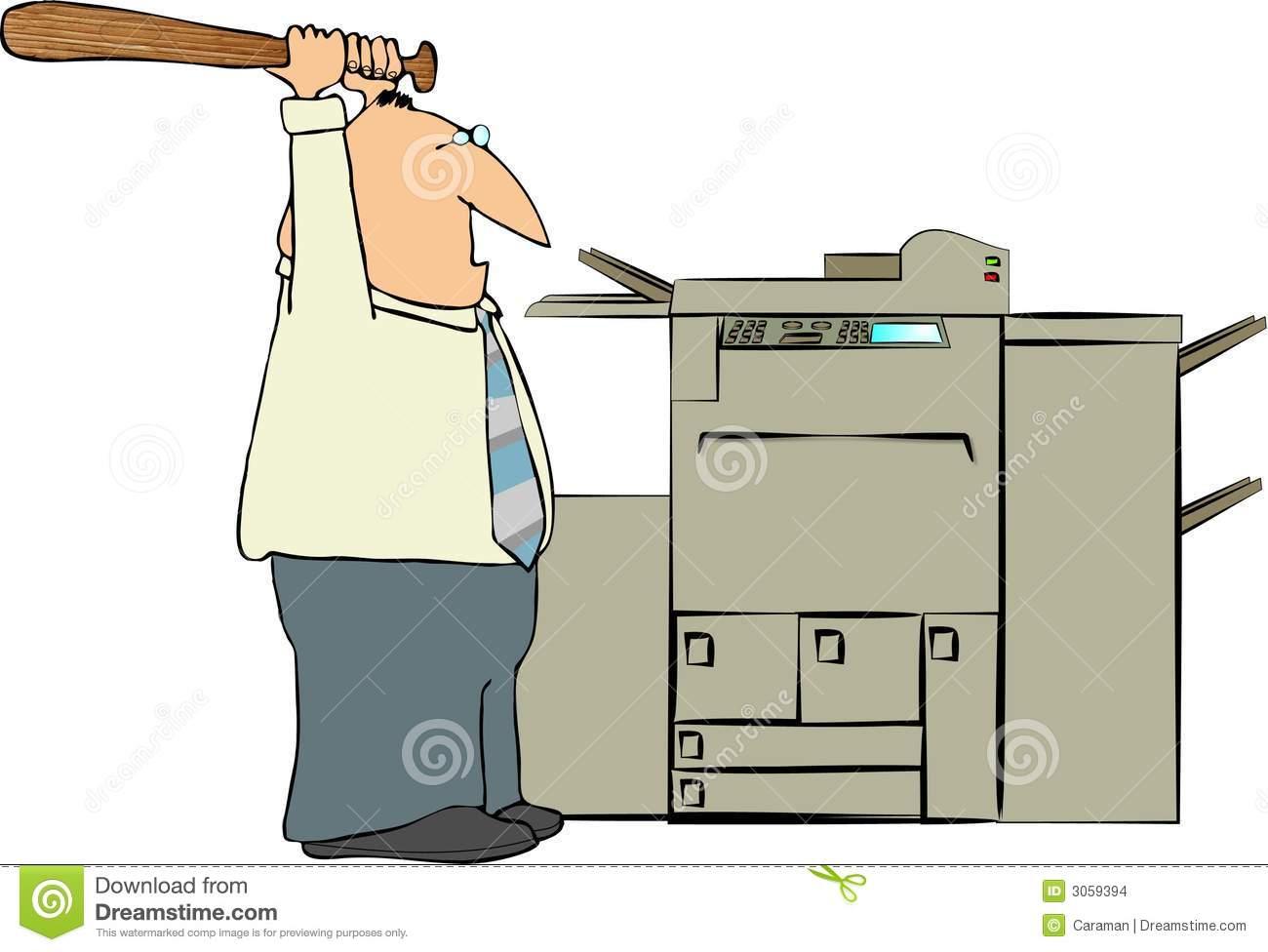 Man Beating A Copy Machine stock illustration. Illustration of.