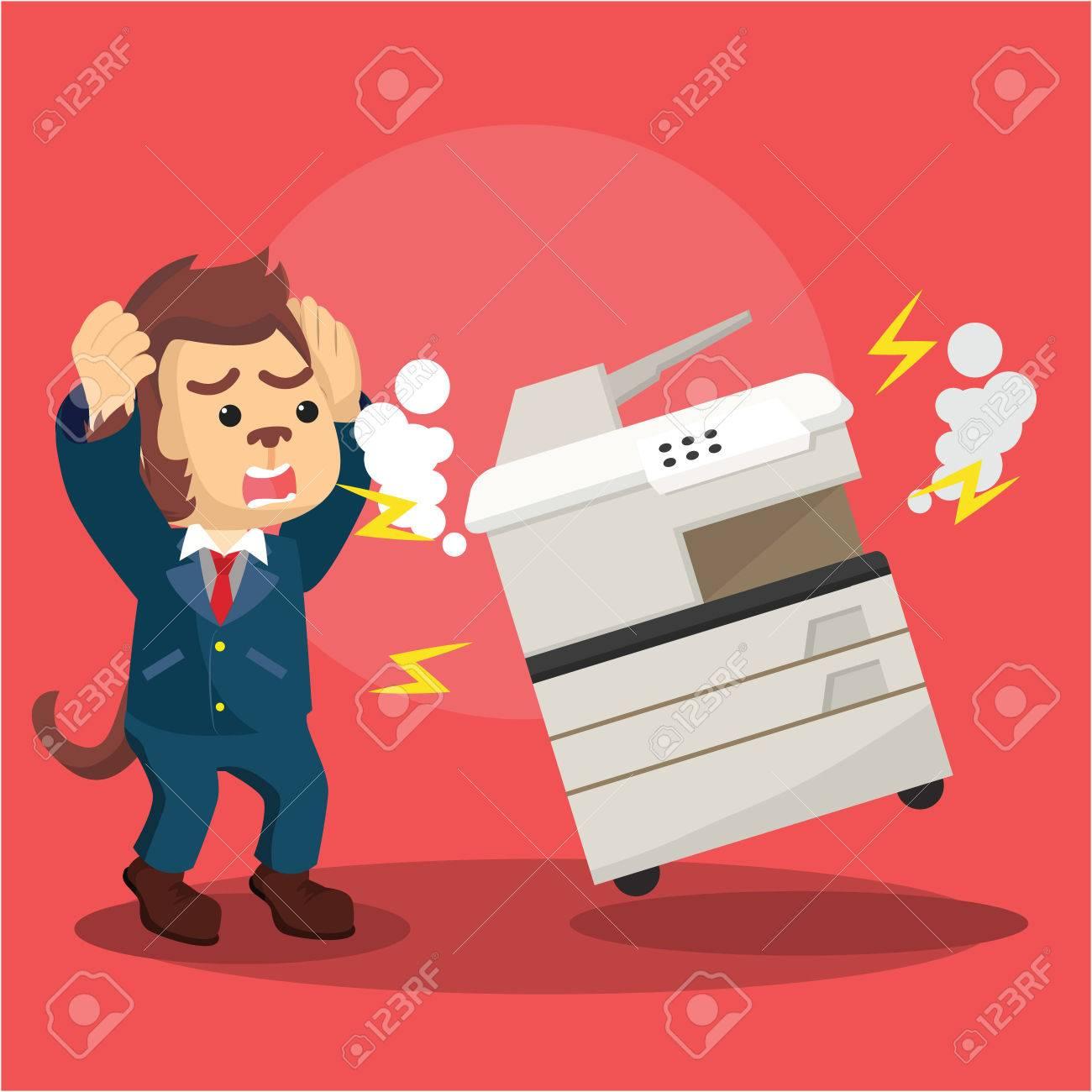 monkey business panic because broken photocopy machine.