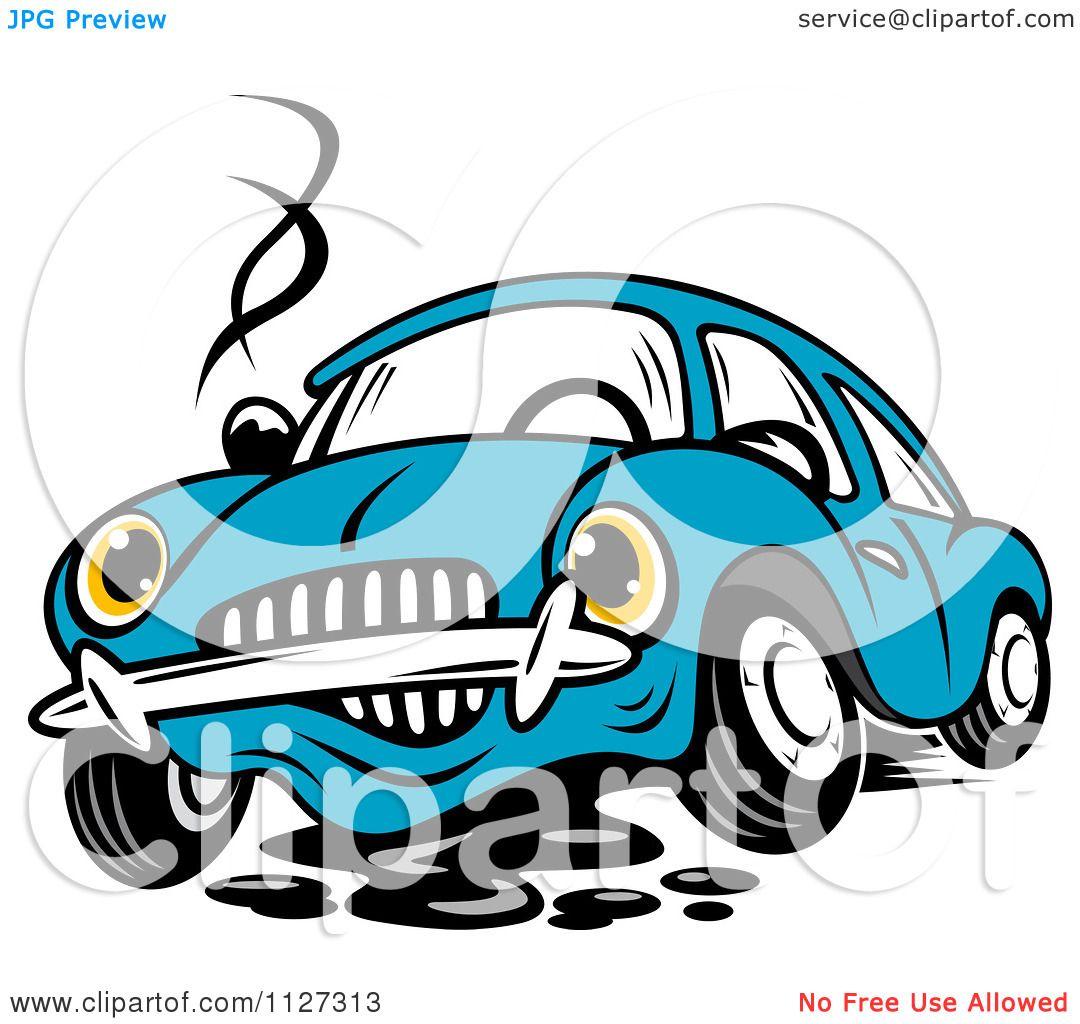 Clipart Of A Worried Broken Down Blue Car.