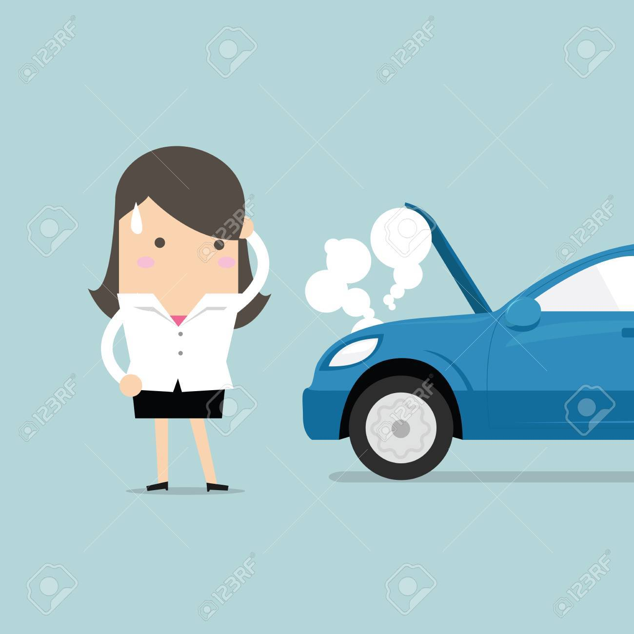 Businesswoman have a force majeure, a car broke down. vector.