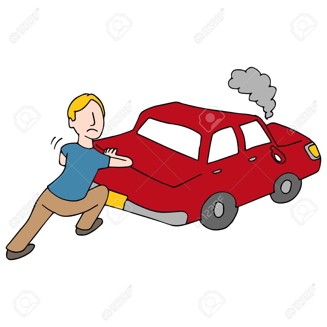 An image of a Man Pushing Broken Down Car..