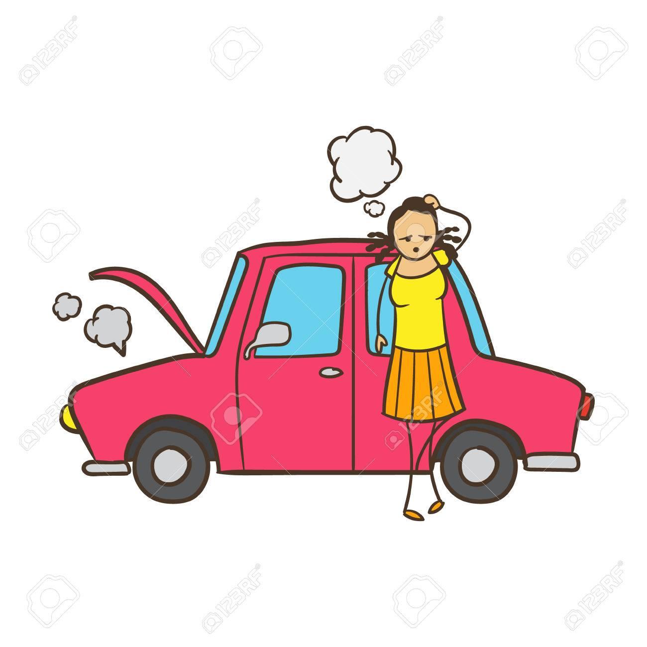 Cartoon Stick Figure Woman With Broken Down Car.