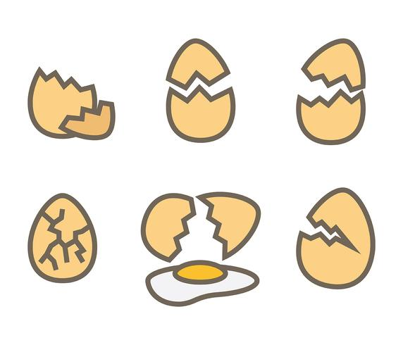 Broken Egg Vector Icon.