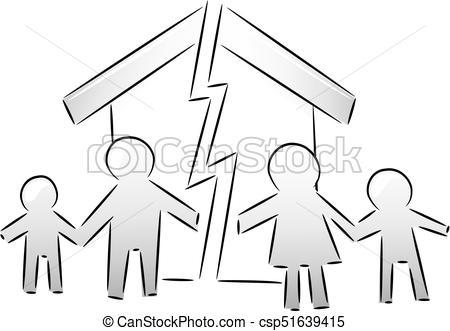 Issues Family Broken Home Illustration.