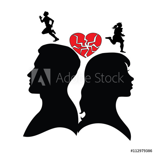 Psychology of relations. Silhouette of man and woman. Divorce.
