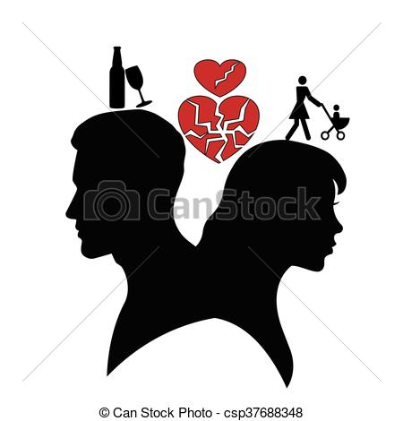 Silhouette of man and woman..