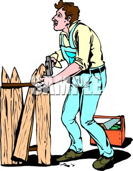 Royalty Free Clipart Image: Handyman Repairing a Broken Fence.