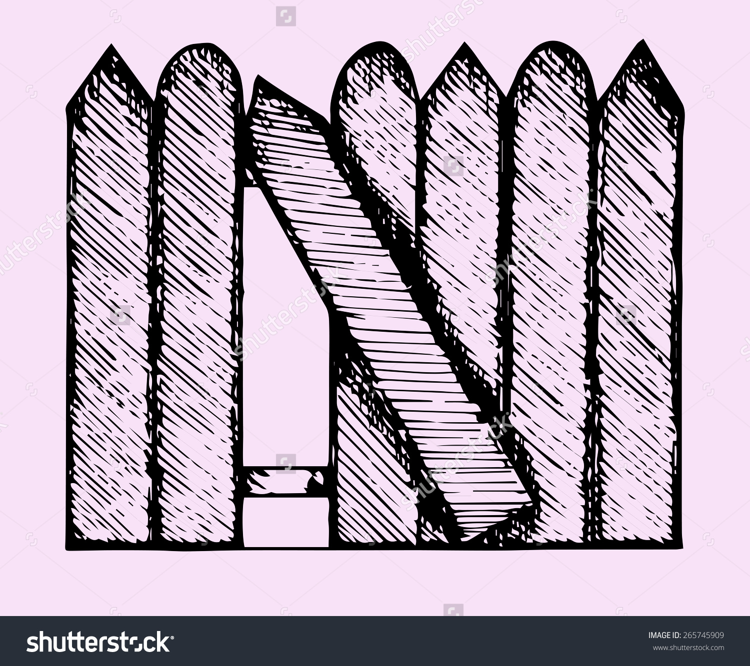 Broken Fence Doodle Style Sketch Illustration Stock Vector.