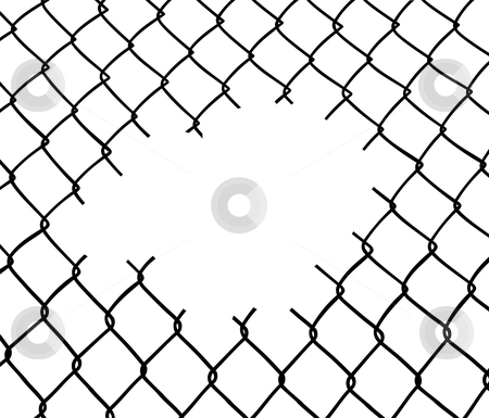 Cut wire fence stock vector.