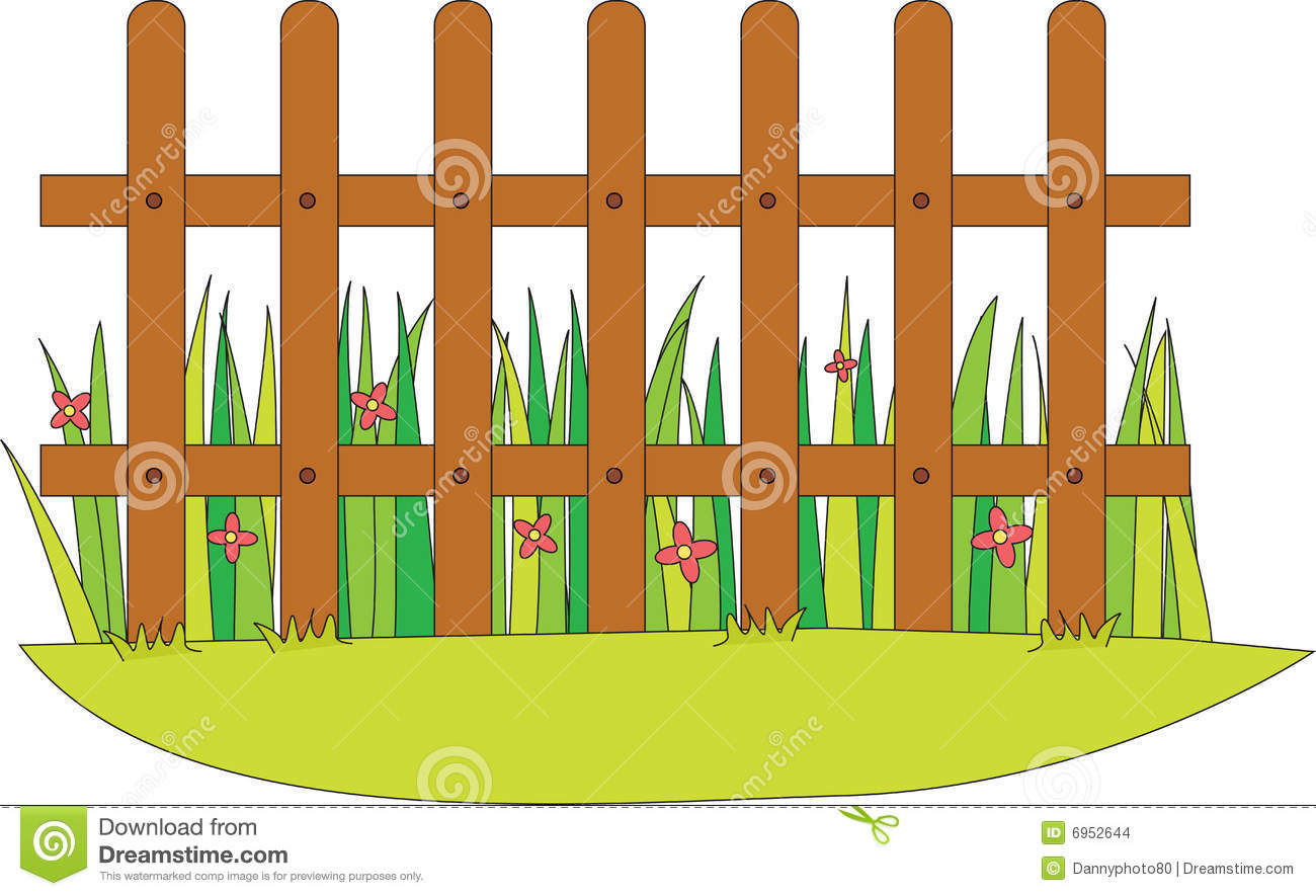 Picket Fence With Flowers Clipart.