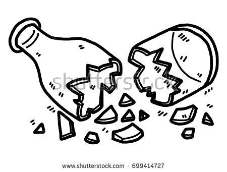 Cracked Glass Bottle Cartoon Vector Illustration Stock.