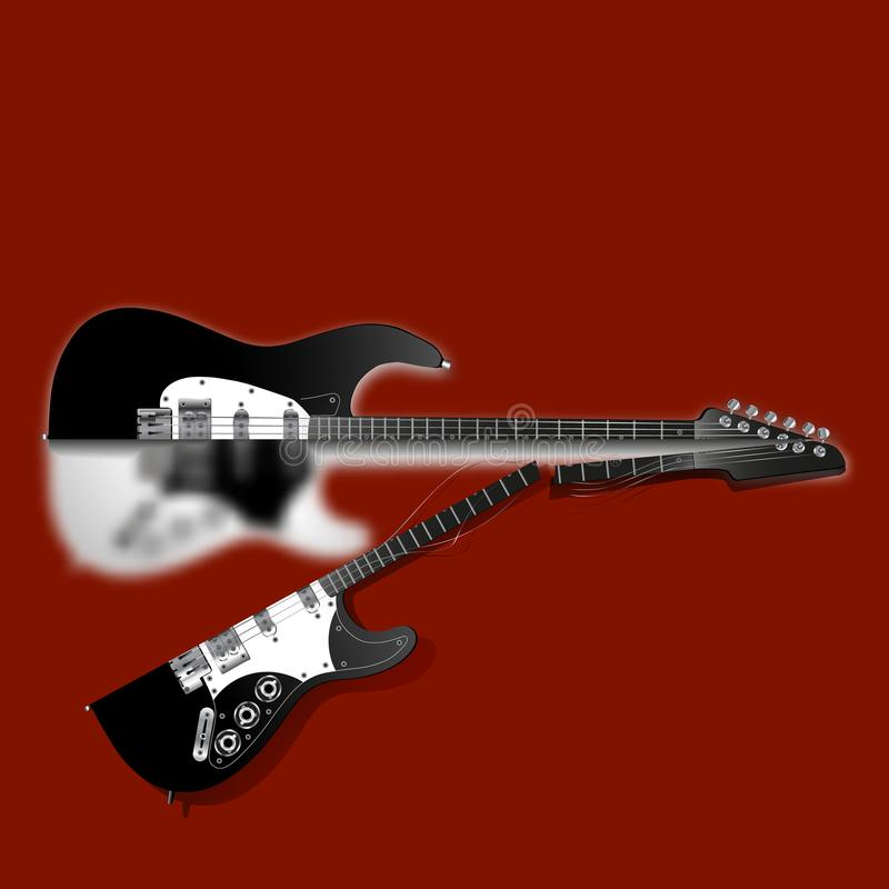 Broken Guitar Stock Illustrations.