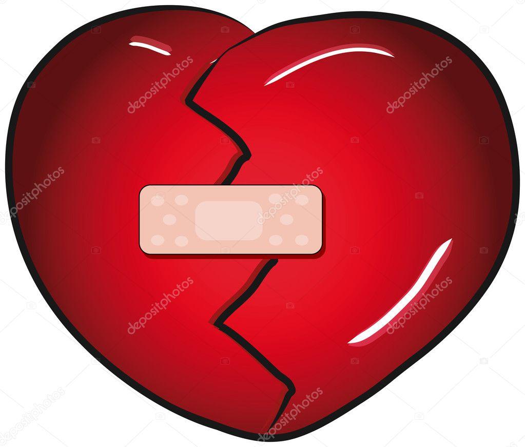Broken heart with a band aid vector clip art — Stock Vector.