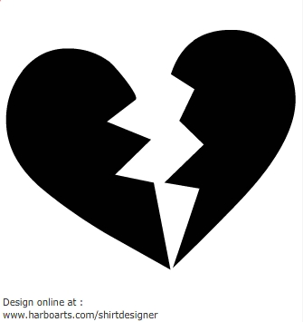 Black and white broken heart clipart.