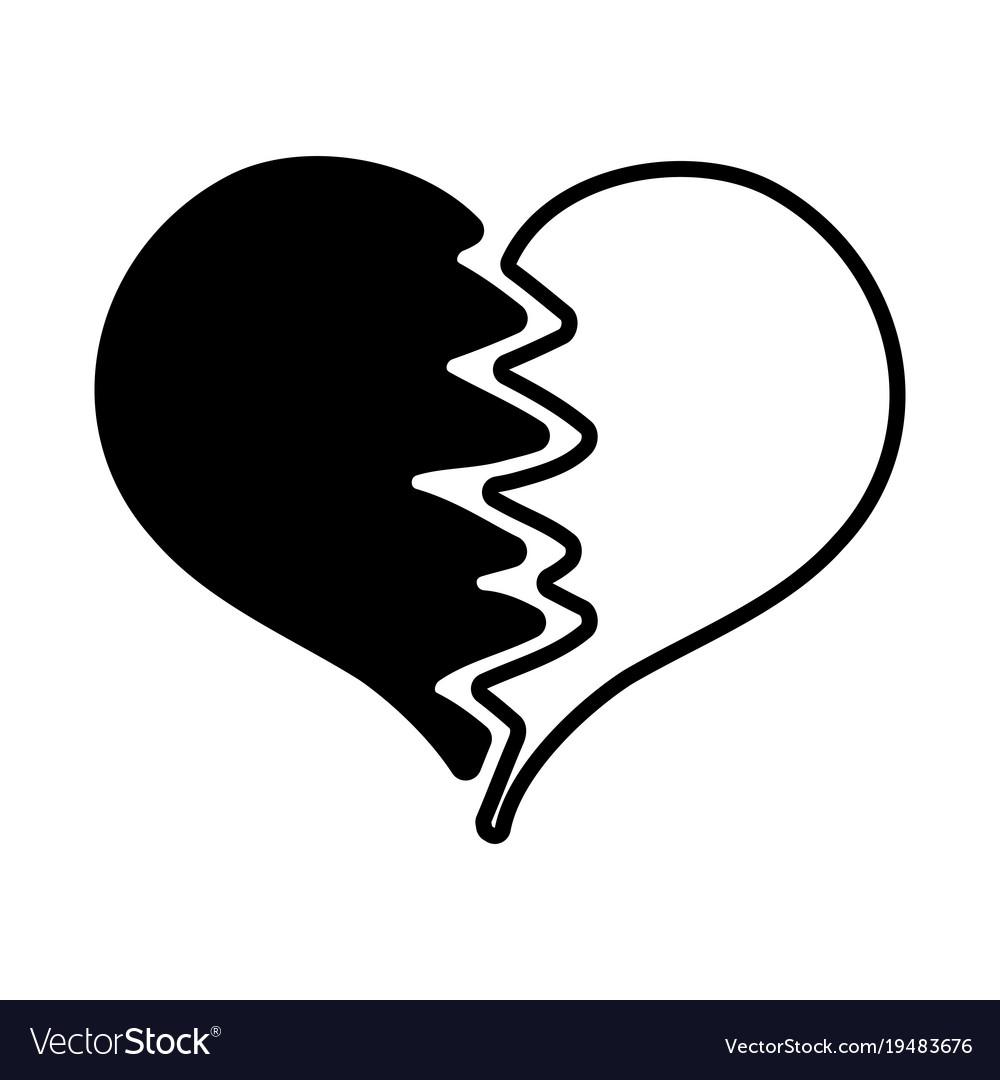 Contour heart symbol of love broken design.