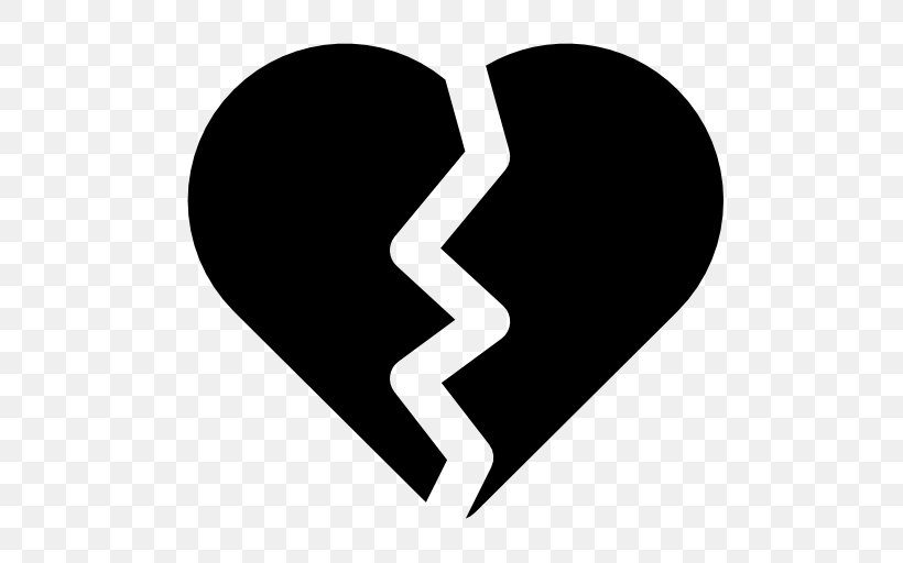 Broken Heart Symbol, PNG, 512x512px, Heart, Black And White.