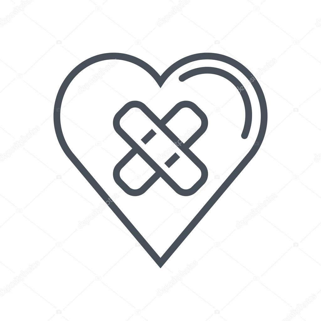 Heart bandage, broken heart icon — Stock Vector © Howcolour #97148130.