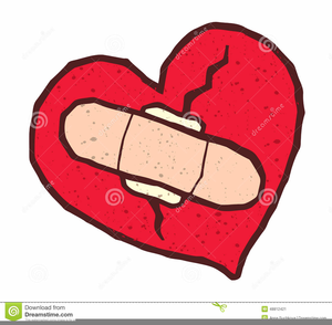 Broken Heart With Bandage Clipart.