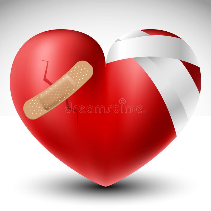 Broken Heart Bandage Stock Illustrations.