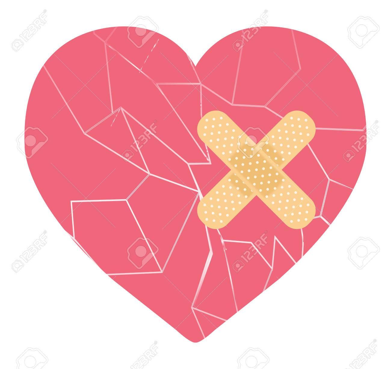 broken heart with bandage.