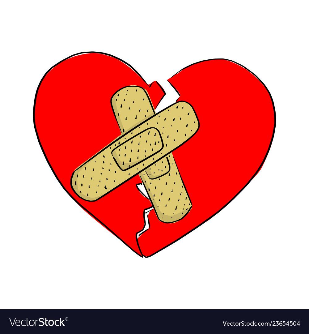 Broken heart with bandage sketch.