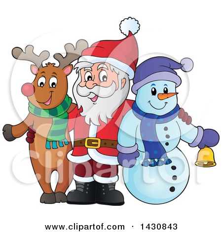 Clipart of a Happy Waving Snowman with a Broom and Broken Pot Hat.