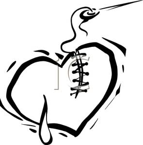 Broken Heart Black And White Clipart.