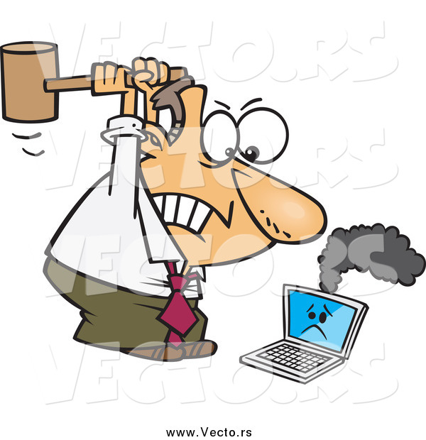Vector of a Angry Caucasian Businessman Whacking a Broken Laptop.