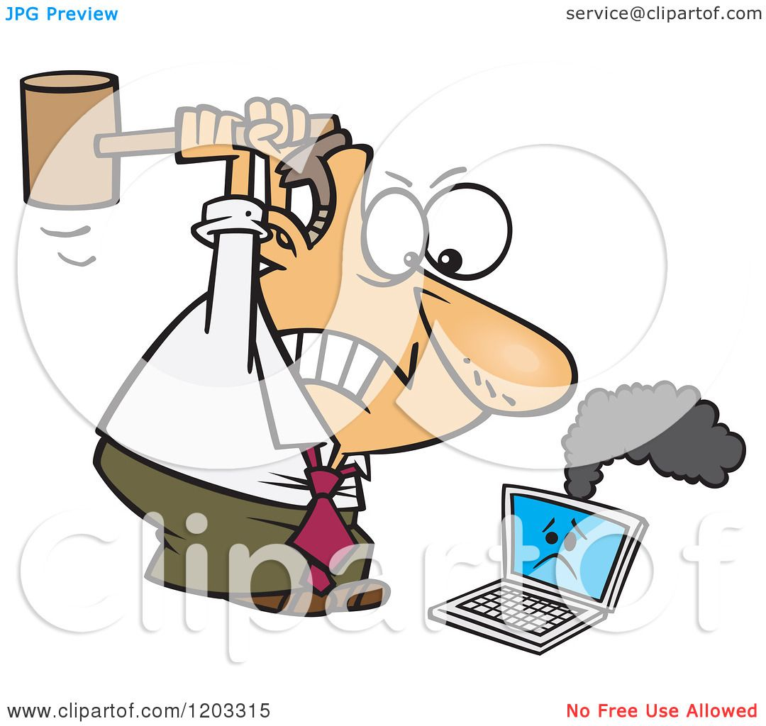 Cartoon of an Angry White Businessman Whacking a Broken Laptop.