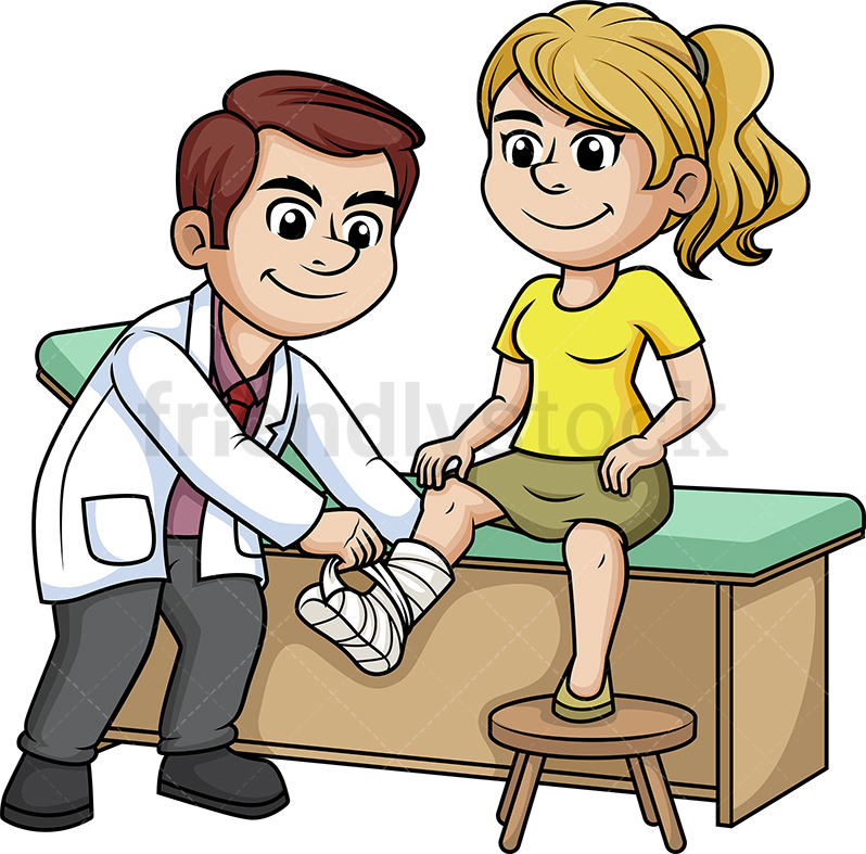 Doctor Tending To A Woman With Broken Leg.