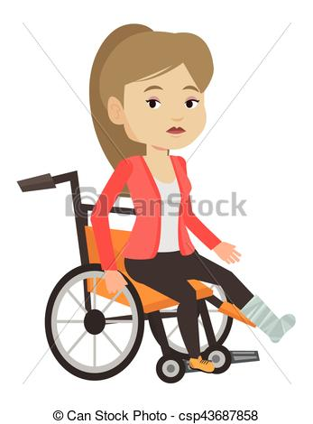 Woman with broken leg sitting in wheelchair..