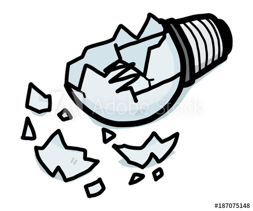 broken light bulb / cartoon vector and illustration, hand.