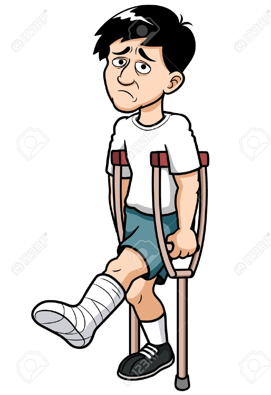 Man broken leg clipart.