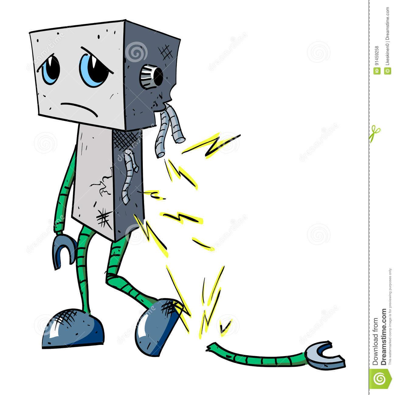 Cartoon Image Of Broken Robot Stock Vector.