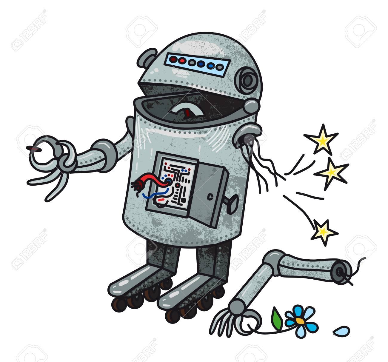 Cartoon image of broken robot.