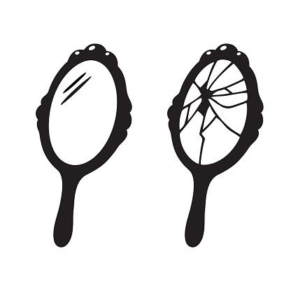 Hand Mirror Broken Stock Illustration.