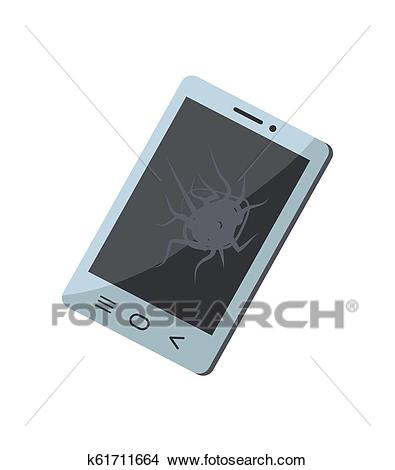 Broken Mobile Phone Object Vector Illustration Clipart.