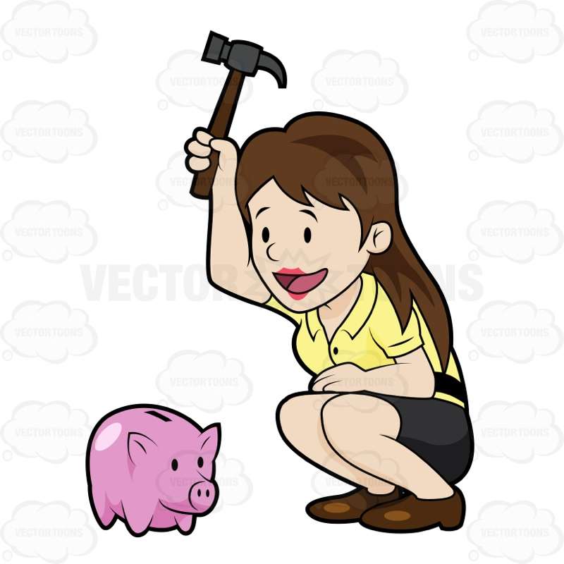 Broken Piggy Bank Clipart.