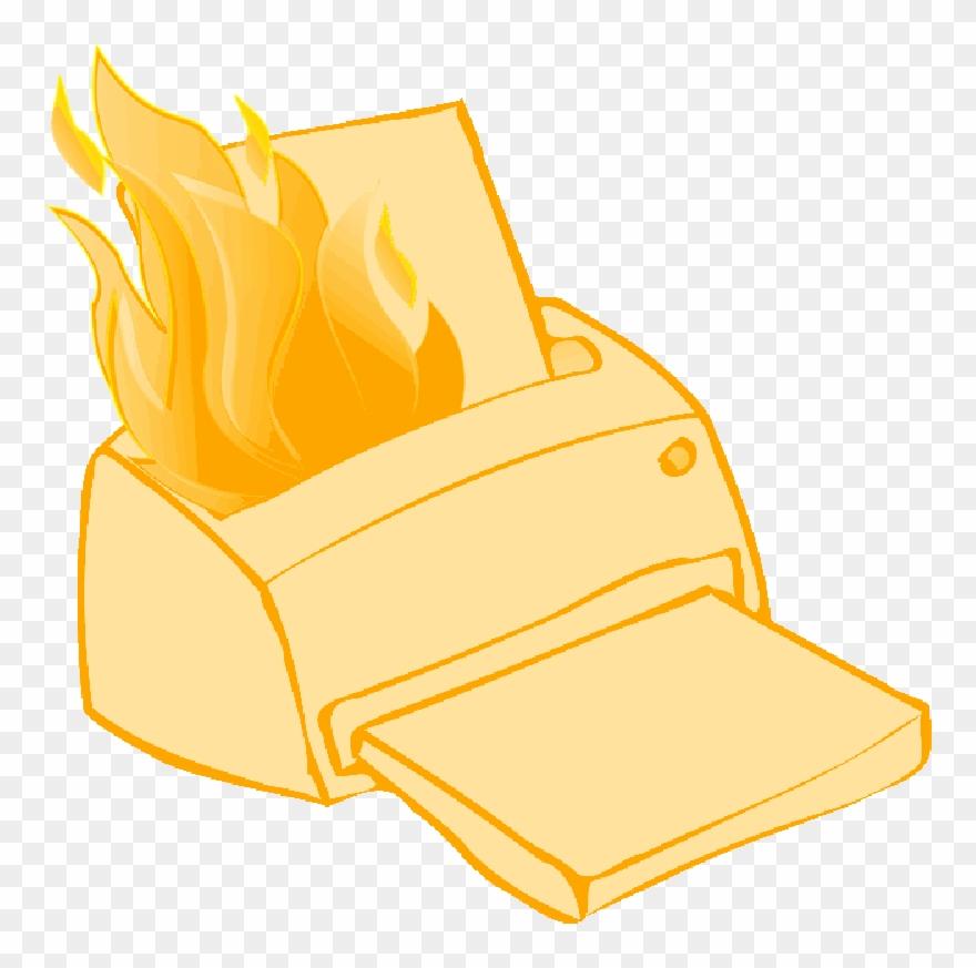 Printer, Paper, Fire, Cartoon, Hot, Electronics, Broken.
