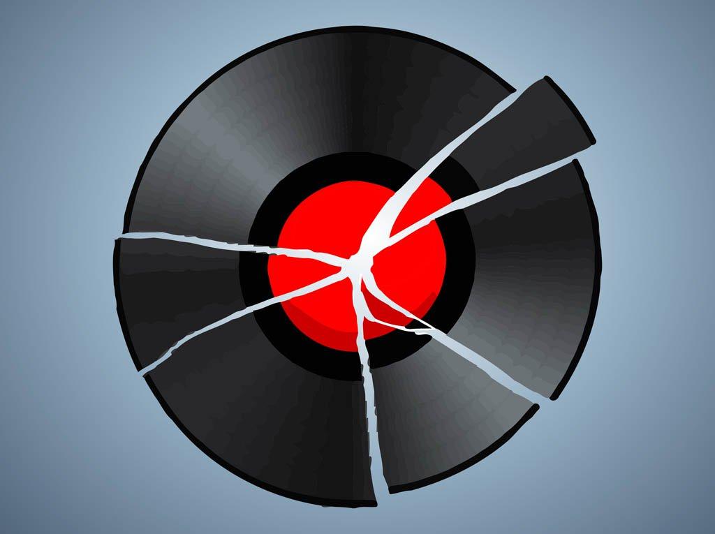Broken Record Vector Art & Graphics.