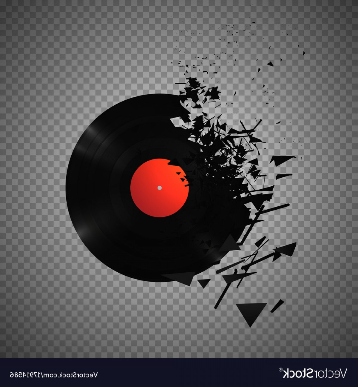 Vintage Vinyl Records Broken And Shattered Into Vector.