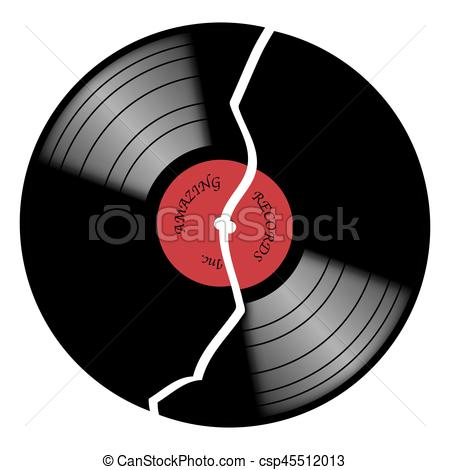 Vinyl 33rpm Broken Record With Red Label.