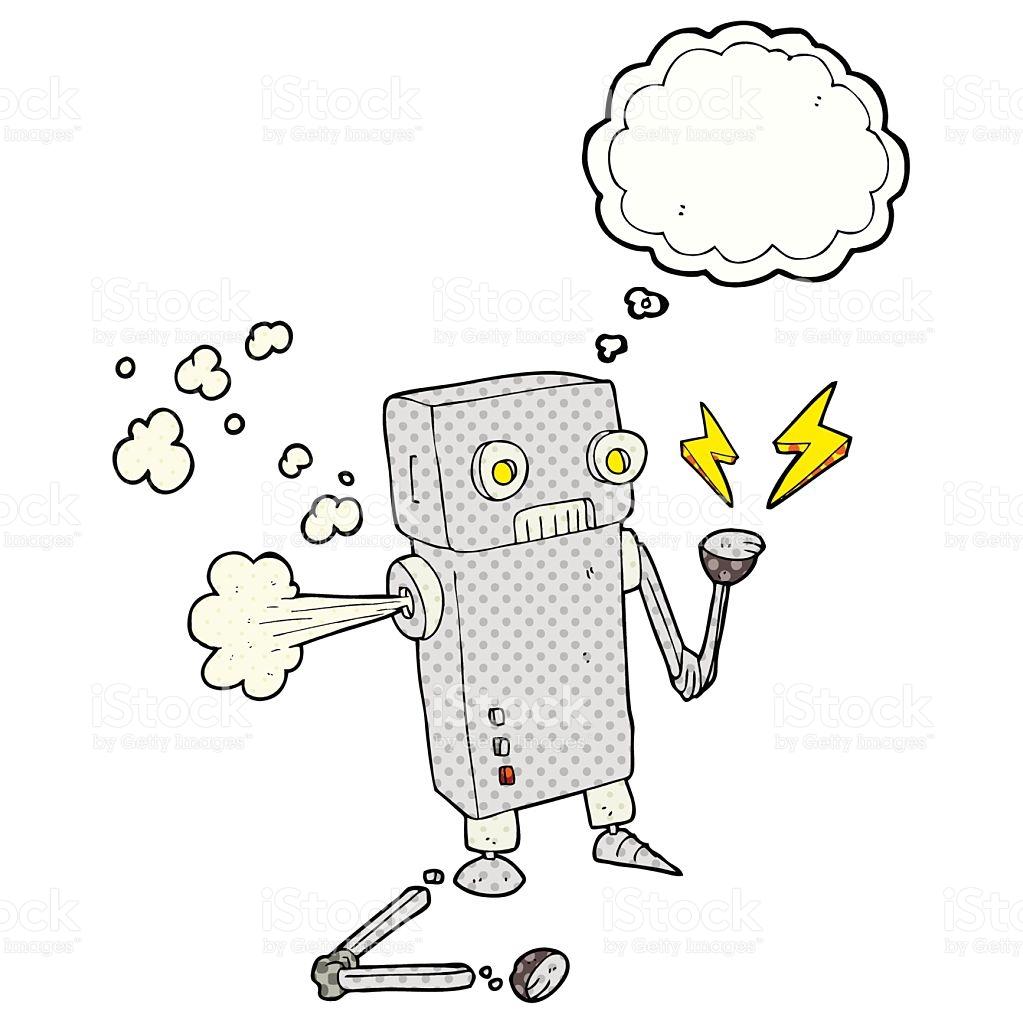 Thought Bubble Cartoon Broken Robot stock vector art 544602568.