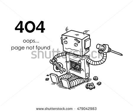 Broken Robot Hand Drawn Vector Doodle Stock Vector 478917859.