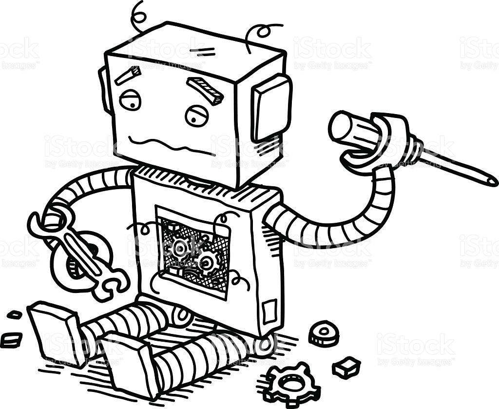 Broken Robot stock vector art 599486444.