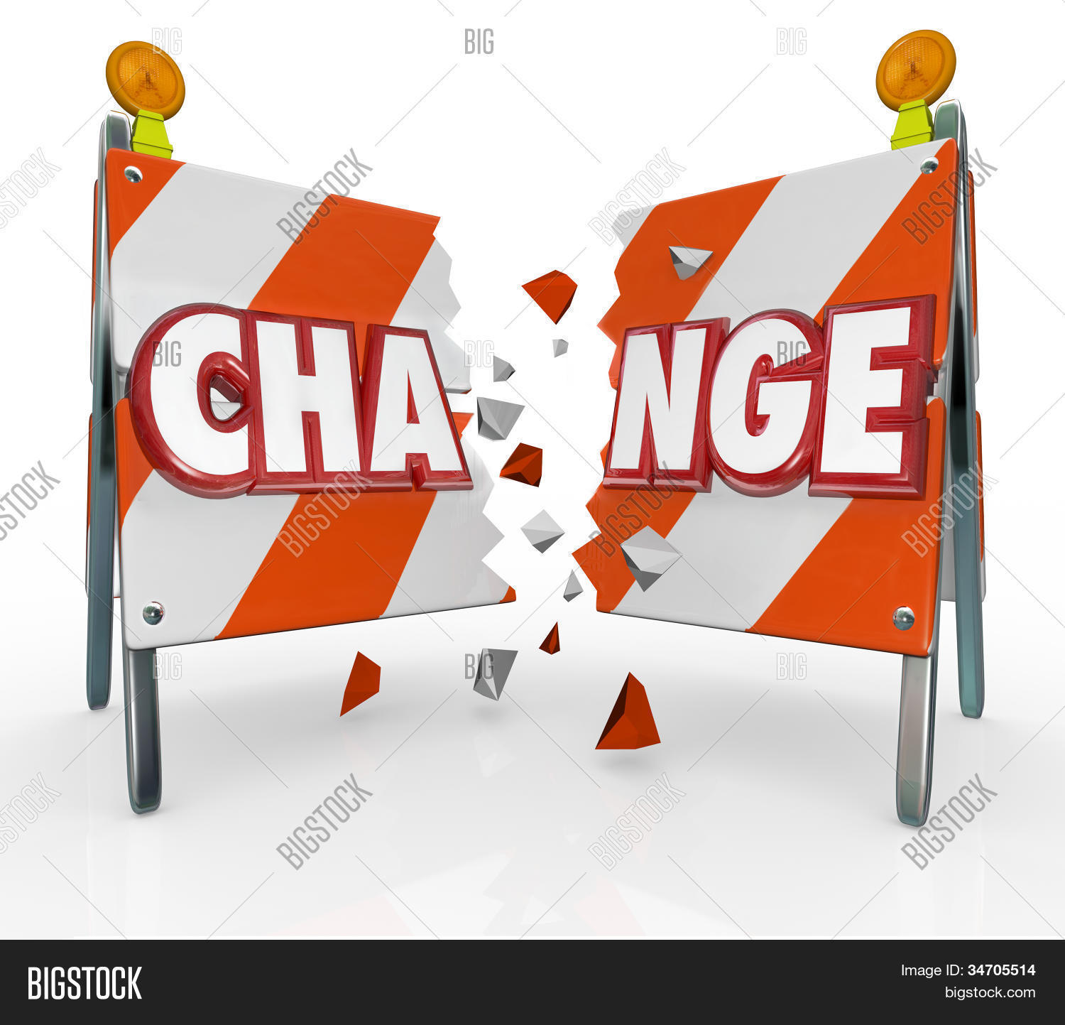 The word Change on a barrier being broken through to allow for.