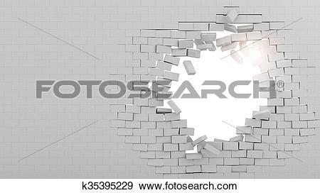 Stock Illustration of Wall broken through k35395229.